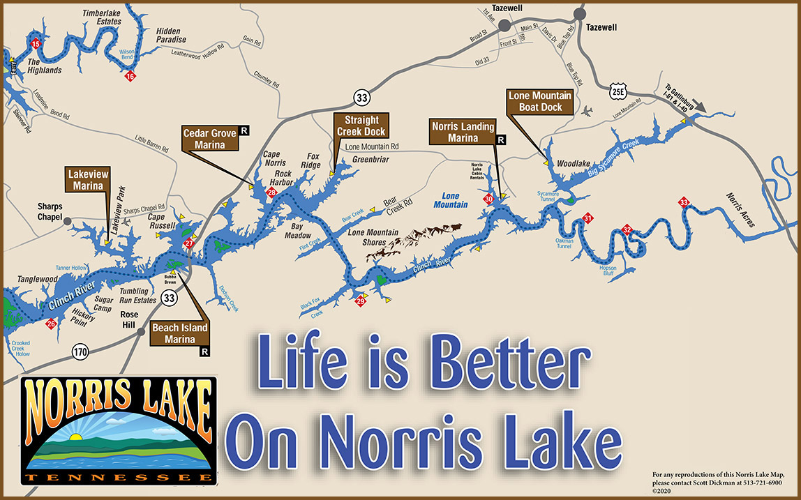 norris lake map tennessee Lake Maps Norris Lake norris lake map tennessee